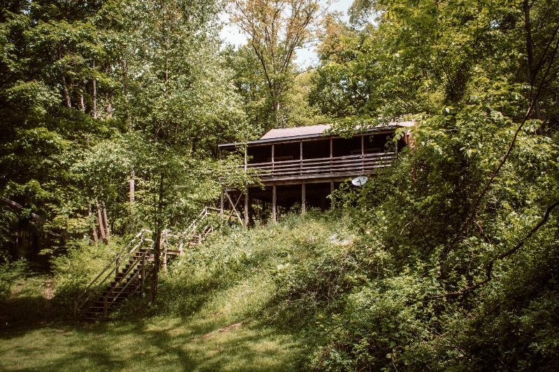 Rear Exterior View of Hillside Cabin - Walking down to the Lake.