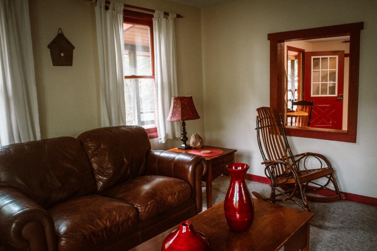 Living Room - Kitchen through pass through window - Living Room - Kitchen through pass through window