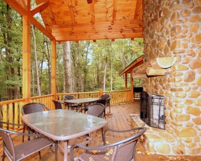 Starry Knight - Back rear deck with outdoor fireplace