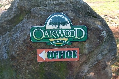 Sign to office - You are on Oakwood Cabins property.