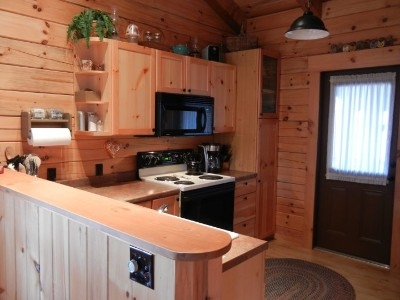 Kitchen - Full kitchen with electric range and oven, full size refrigerator, and microwave.