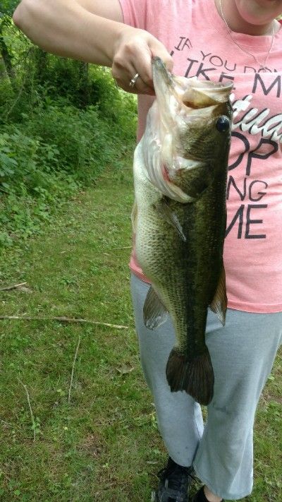 At the pond - One of many nice bass caught in our pond