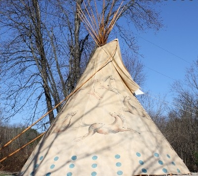 Each Tipi is painted in a unique way - The pictures painted on each Tipi are works of art