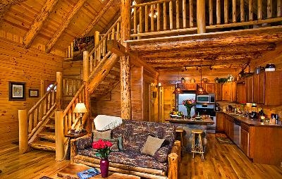 - One of a kind half log turning staircase and hand-peeled logs throughout, no drywall to be found!  This makes for a true log cabin experience!