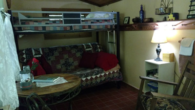 Dogwood - Dogwood full bed with twin bunk. Solar lighting.