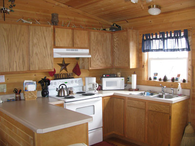 Big Pine kitchen - Fully furnished kitchen, with dishware and cooking/baking necessities, as well as coffee maker, microwave, toaster, blender, and mixer.