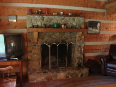 Stone Wood Burning Fireplace