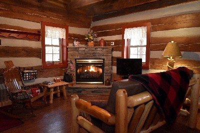 Living Room - Warm up with the Gas Log Fireplace
