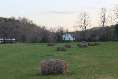 Hay Bail View  - To left is Our horse Barn