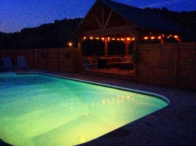 Pool at Night - Late night Private Swimming Pool and it is a wonderful 85 Degrees