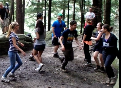 TrekNetwork live music in the Hocking State Forest - Ohio State students dancing to live music in the Hocking State Forest