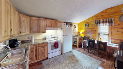 Sandy Run Kitchen - Kitchen comes equipped with all the amenities and appliances you need for a getaway. Just bring food! Contact us if you have specific questions regarding kitchen amenities.