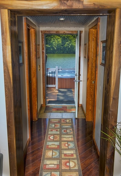 Hallway with a view - Steps to the hot tub and lake. What a view!