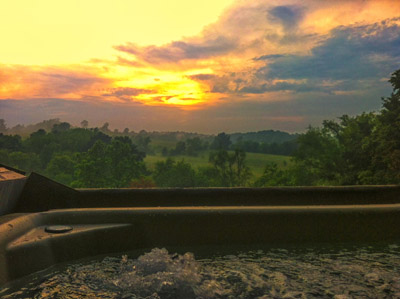 Hot Tub with an awesome view - Eagle View Retreat offers awesome sunset views from the hot tub and front porch.