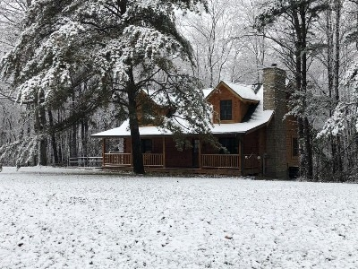 BBH Front in Winter - 4 acres surround this split-level lodge.