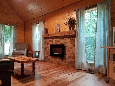 Living room - This spacious living room has great views of the valley and has an electric fireplace