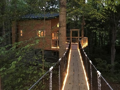 Maple View Tree House - View of cable bridge and tree house at night.
