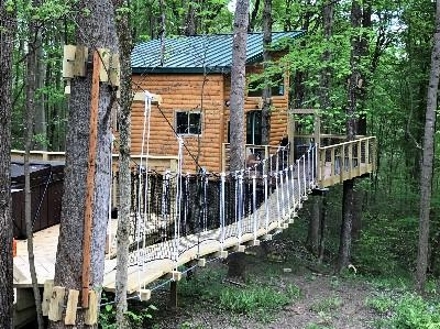 Maple View Tree House - Cable bridge to outside deck of tree house.