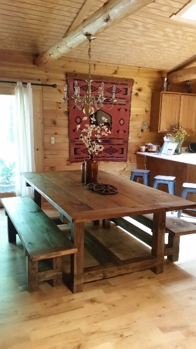 Dining Table - Large handcrafted rustic table with benches. Seats up to 10.