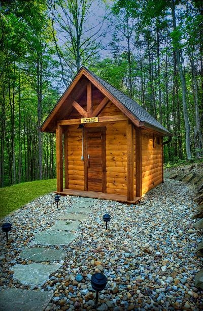Sauna and Bath House - This outdoor sauna and bath house was designed in the Alaskan tradition to provide maximum health benefits of hot sauna and cool shower