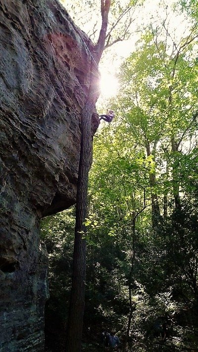 - One of the Higher Rappels at High Rock - Pride Rock, Experience the Thrill - Nature Rocks!
