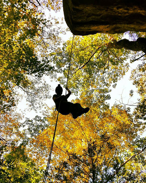 - Rappelling through the amazing fall colors of the Hocking Hills at High Rock Adventures