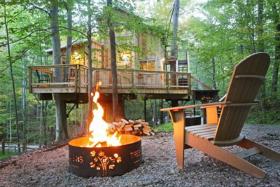 Fire Pit  Hocking Hills Treehouse Cabins - Enjoy your private treehouse getaway just minutes from Hocking Hills State Park  Hocking Hills Treehouse Cabins