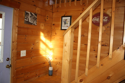 Glory Days Cabin - stairs to loft  and back door to deck and hot tub
