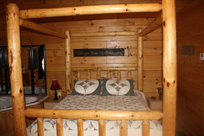 Cuddles Cabin - Cuddles log poster queen size bed