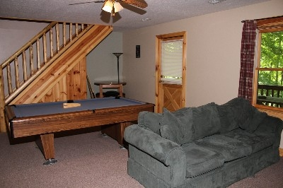 Living Room - Full living room downstairs.  Includes pool table!