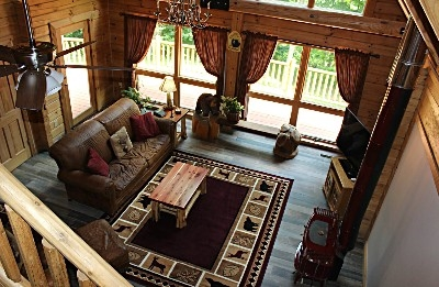 Sunrise Retreat Living Room  - Full living room with wrap around outdoor deck.