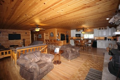 Large Living Room and Kitchen Area - Large HD TV with Blu-ray and surround sound, fireplace and plenty of room to spread out and play games