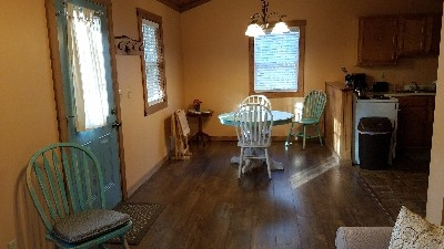Delaware Cabin - Looking from the living room towards dining and kitchen