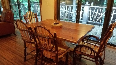 Dining Area - Custom built furniture highlights the eating area.
