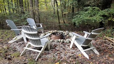 Fire Pit - Fire pit is tucked into the woods and has comfortable seating