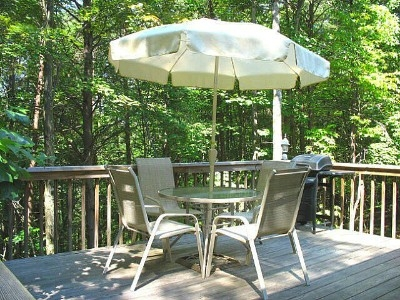 Deck - The 14 feet high, 12x16 foot deck is complete with patio table and chairs, propane grill, bench, and lovely outdoor lamps for gentle night time illumination