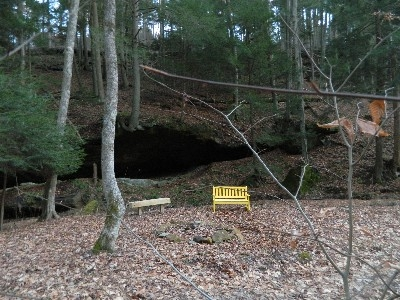 Our Little Ash Cave - One of several benches on the property to relax on and enjoy the view.