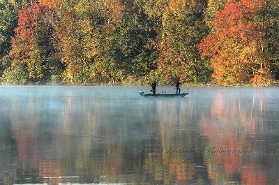 Fishing in the Fall, Lake Logan - There are always nice fall shots to be had around the lake, the fishermen were an added point of interest