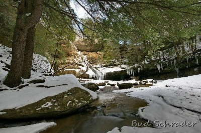 Cedar Falls Winter From the Bridge - I was testing a new 10MM lens, I love the depth you get from these series I took here, also at Ash Cave and the Upper Falls.