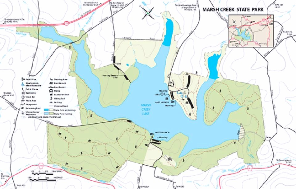 Marsh Creek State Park A Pennsylvania Park Located Near Aston - Us state parks map