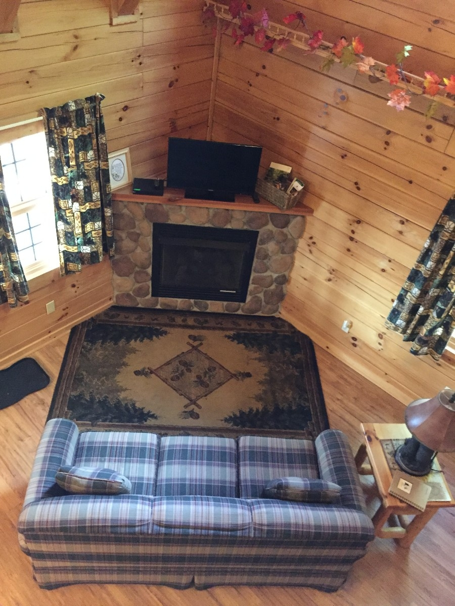 Dogwood Cabin - View of living room from loft