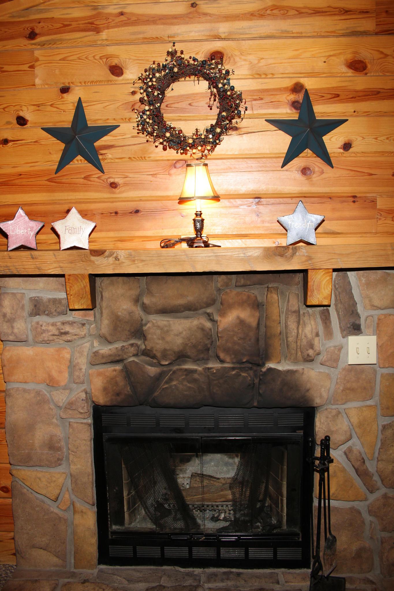 Fireplace - Wood burning fireplace.