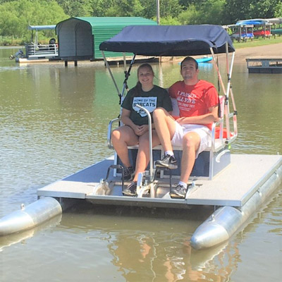 Pedal boats at Strouds Run State Park - These vessels hold up to 4 passengers. Those who sit in the back avoid any legwork!
