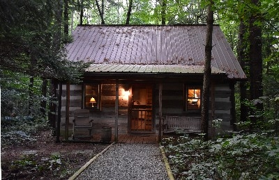 Photo 181_4155.jpg - Blue Log Cabin is secluded deep into the 44 acre pine forest.