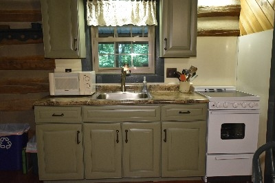 Green Log Cabin - New kitchen cabinets