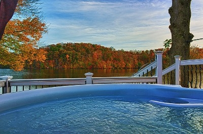 Hot tub with a view - View from the hot tub in the fall.