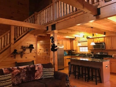 Black Bear Hideaway - Open floor plan with lofted area above.