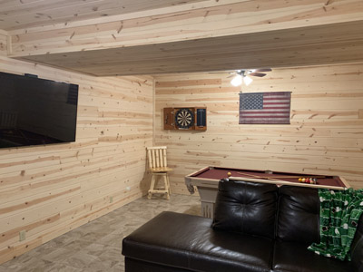 Game room - Love games  We have you covered with a big screen TV, pool table, darts, Monopoly, Jenga, pick up sticks, Connect 4, Uno, playing cards, chess, checkers, and more!