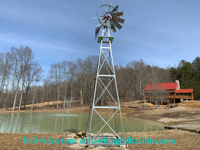 Hawking Pond Cabin - Hawking pond with water fountain with LED night lights and aeration windmill