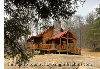 Hawking Pond Cabin - Side view with outside fireplace